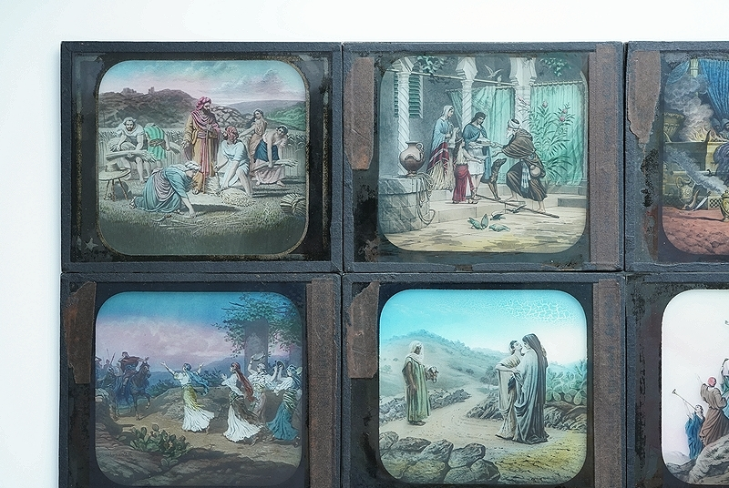 【アンティークガラススライド9枚セット 聖書 古道具】ビンテージ ブロカント 信仰 キリスト イコン 蚤の市 レトロ オブジェ 幻灯機 資料に_画像4