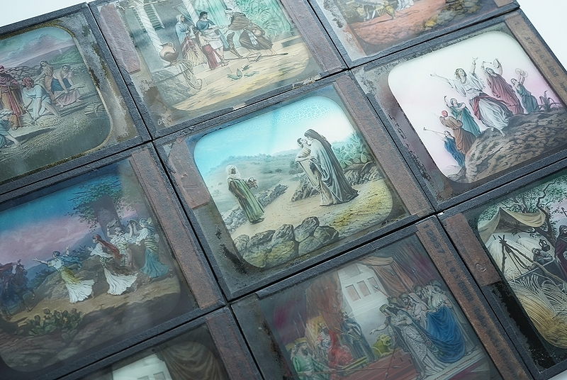 【アンティークガラススライド9枚セット 聖書 古道具】ビンテージ ブロカント 信仰 キリスト イコン 蚤の市 レトロ オブジェ 幻灯機 資料に_画像3