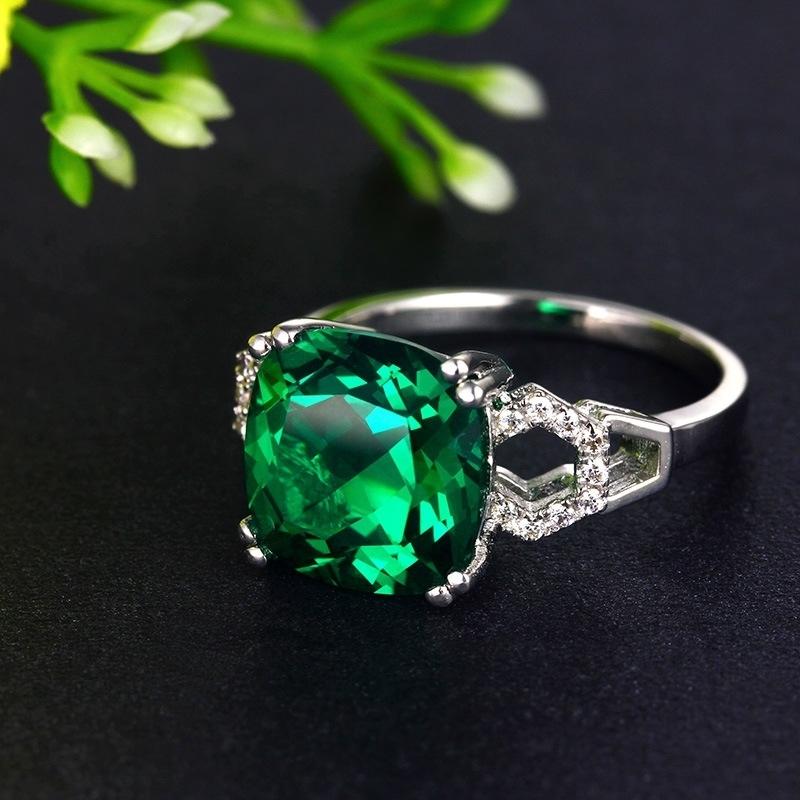 極上の逸品 絢爛 豪華 厳選 極大粒 約3.63ct CZエメラルドグリーンダイヤモンドリング 指輪 シルバー925 プラチナ仕上 14号_画像1