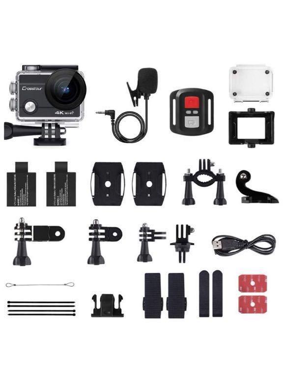 格安 新品アクションカメラ 4K高画質1600万画素 水中カメラ 外部マイク リモコン付き WiFi搭載 手ブレ補正 タイムラプス ループ録画 防水 _画像6
