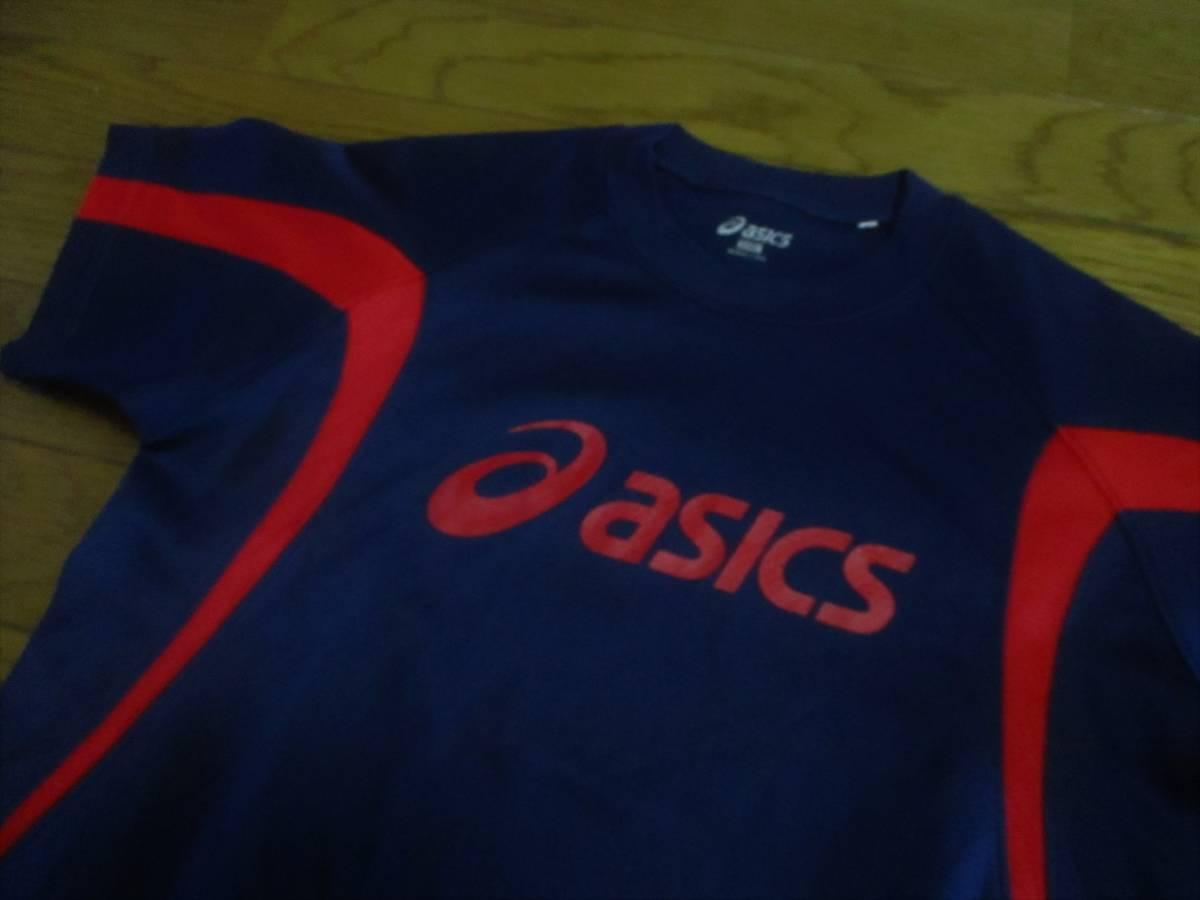 アシックス・ドライ半袖Tシャツ・紺×赤色・サイズ150㎝_画像2