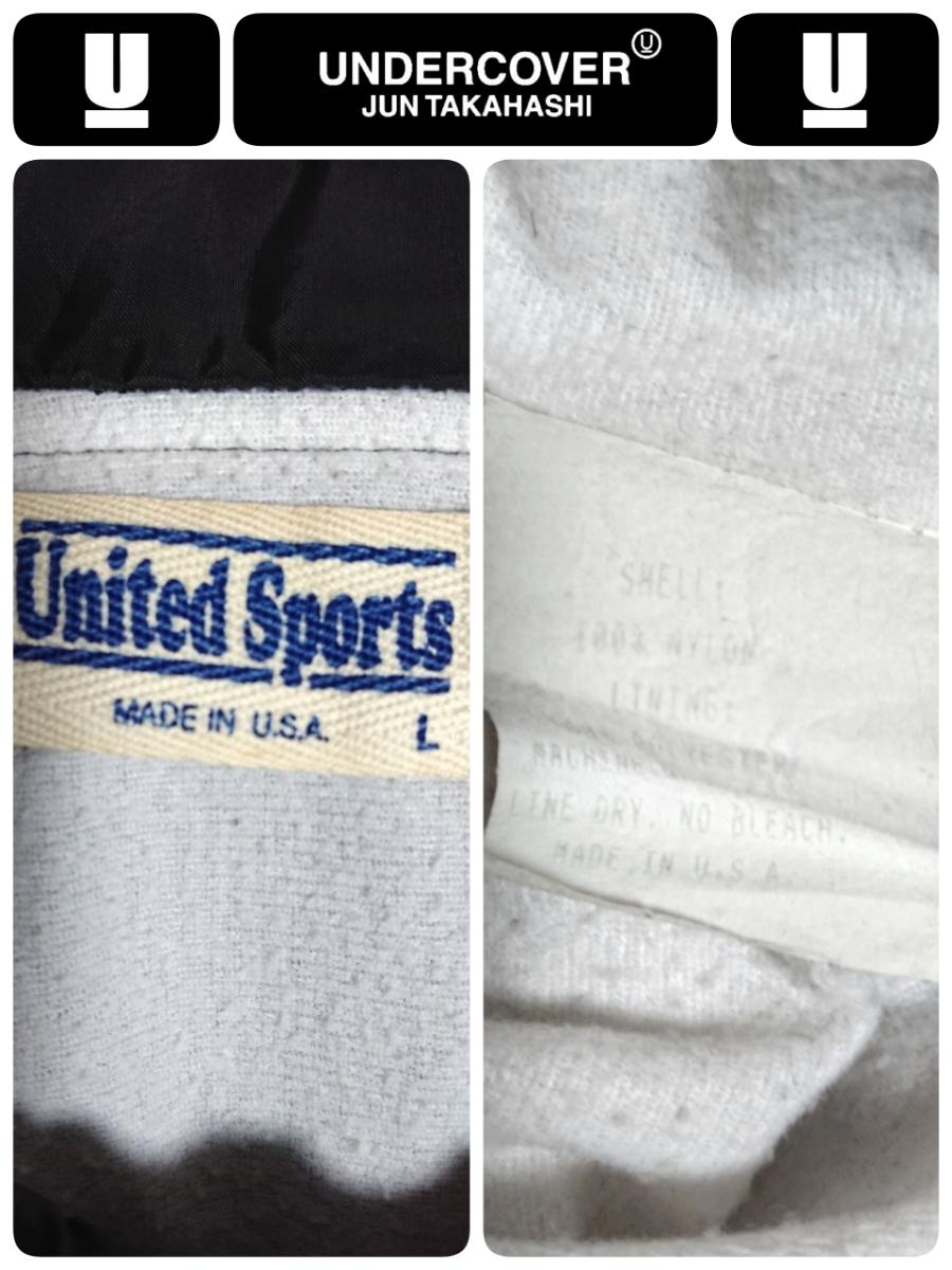 超稀少 90S UNDER COVER アンダーカバー 最初期 United Sports社USA製ボディ ヴィンテージ uロゴプリントナイロンコーチジャケット L 良品_画像10