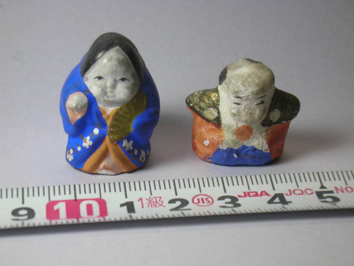 福助 おかめ 古い時代 レトロ 小さく 可愛らしい 土人形 豆人形 2点_画像1