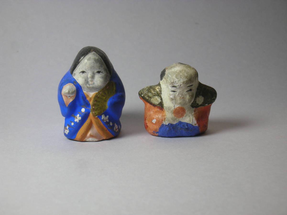 福助 おかめ 古い時代 レトロ 小さく 可愛らしい 土人形 豆人形 2点_画像2
