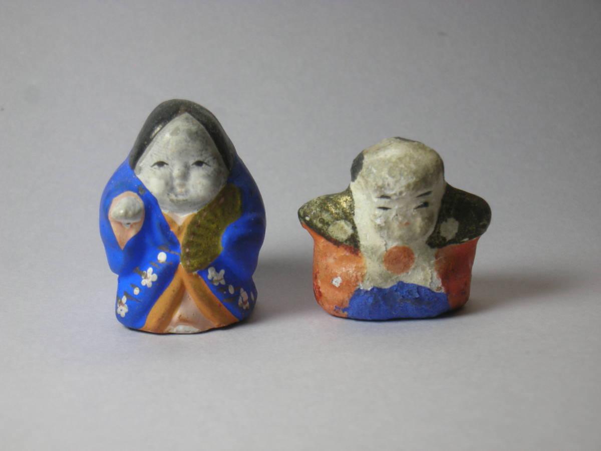 福助 おかめ 古い時代 レトロ 小さく 可愛らしい 土人形 豆人形 2点_画像7