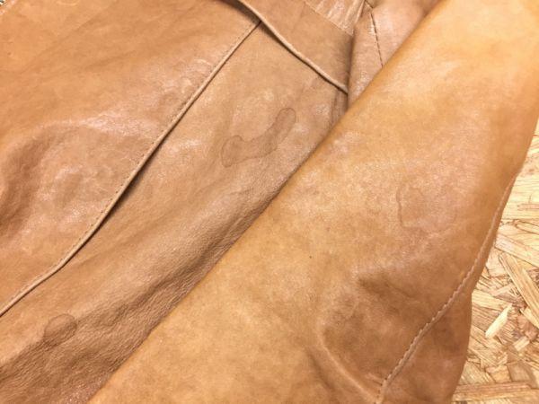 ノーブランド ラムレザー ギャザー ノーカラージャケット ブルゾン レディース ITALY製 羊革 本革 M キャメル_画像3
