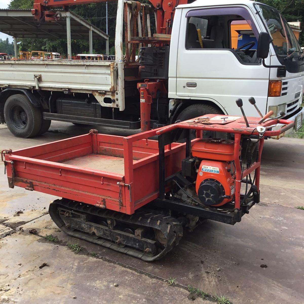 サンワ車輌 ミニクロ M1000 運搬車 最大積載量400キロ クボタガソリンエンジン 動作確認済み クローラ難有り 格安_画像1