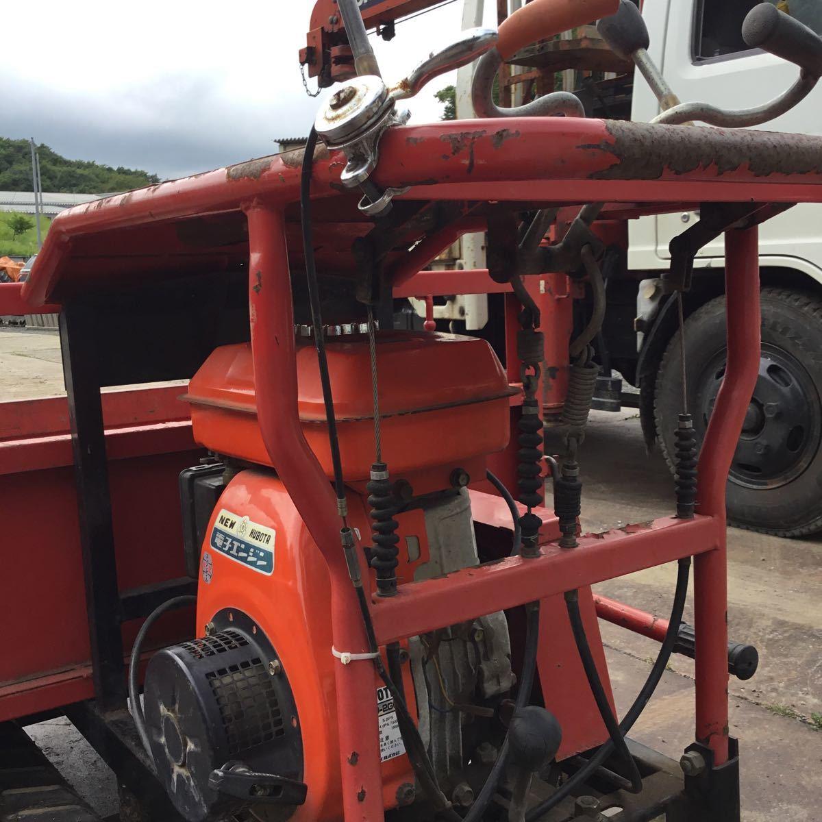 サンワ車輌 ミニクロ M1000 運搬車 最大積載量400キロ クボタガソリンエンジン 動作確認済み クローラ難有り 格安_画像10
