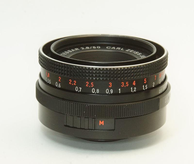 ドイツ製 Carl Zeiss Jena Tessar 2.8/50 M42 553N-321 赤文字ft ブラック 前期型 70年代 A/M切替レバー_画像3