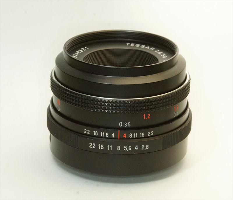 ドイツ製 Carl Zeiss Jena Tessar 2.8/50 M42 553N-321 赤文字ft ブラック 前期型 70年代 A/M切替レバー_画像2