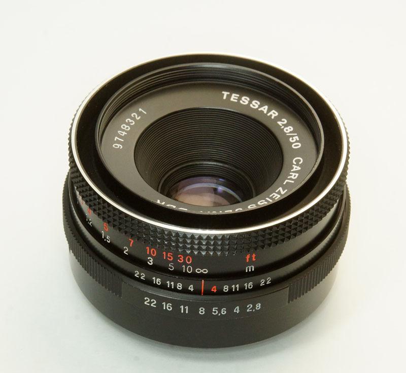 ドイツ製 Carl Zeiss Jena Tessar 2.8/50 M42 553N-321 赤文字ft ブラック 前期型 70年代 A/M切替レバー_画像1