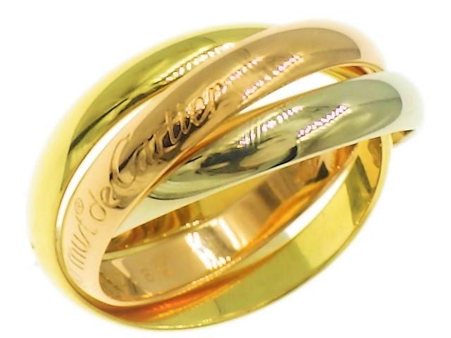 ◆美品 Cartier スリーカラー トリニティ MM リング 指輪 54 14号 3.3mm K18 750 YG PG WG イエロー ピンク ホワイト ゴールド カルティエ_画像1