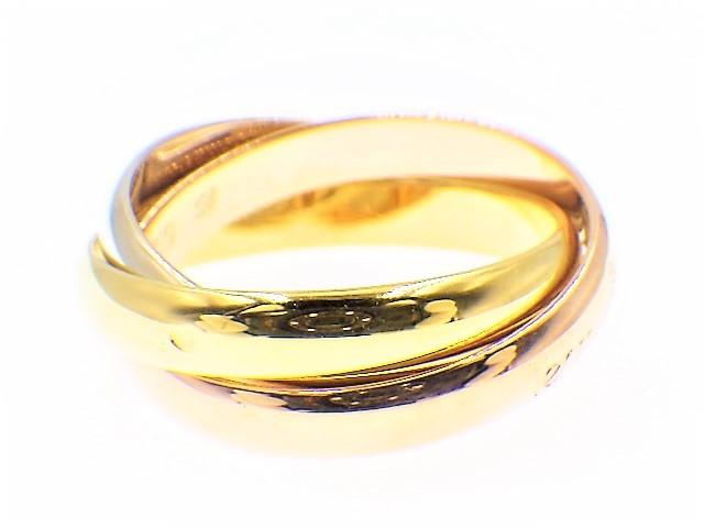 ◆美品 Cartier スリーカラー トリニティ MM リング 指輪 54 14号 3.3mm K18 750 YG PG WG イエロー ピンク ホワイト ゴールド カルティエ_画像3