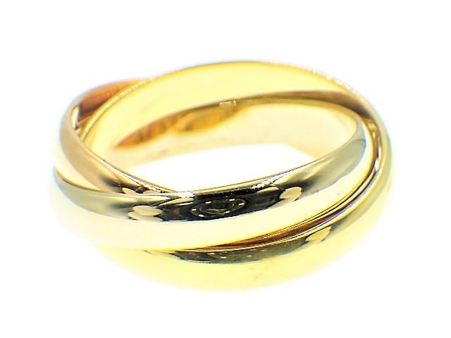 ◆美品 Cartier スリーカラー トリニティ MM リング 指輪 54 14号 3.3mm K18 750 YG PG WG イエロー ピンク ホワイト ゴールド カルティエ_画像2