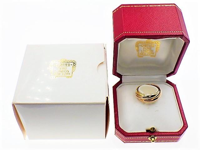 ◆美品 Cartier スリーカラー トリニティ MM リング 指輪 54 14号 3.3mm K18 750 YG PG WG イエロー ピンク ホワイト ゴールド カルティエ_画像7
