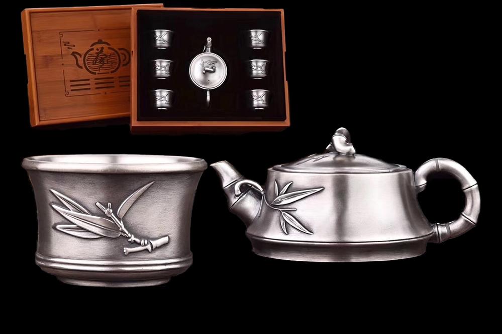 中国古玩 中国美術 唐物 純銀制 竹風茶壺 茶杯 急須一組 茶道具 茶合 擺件 書道具 文具 案頭 旧蔵