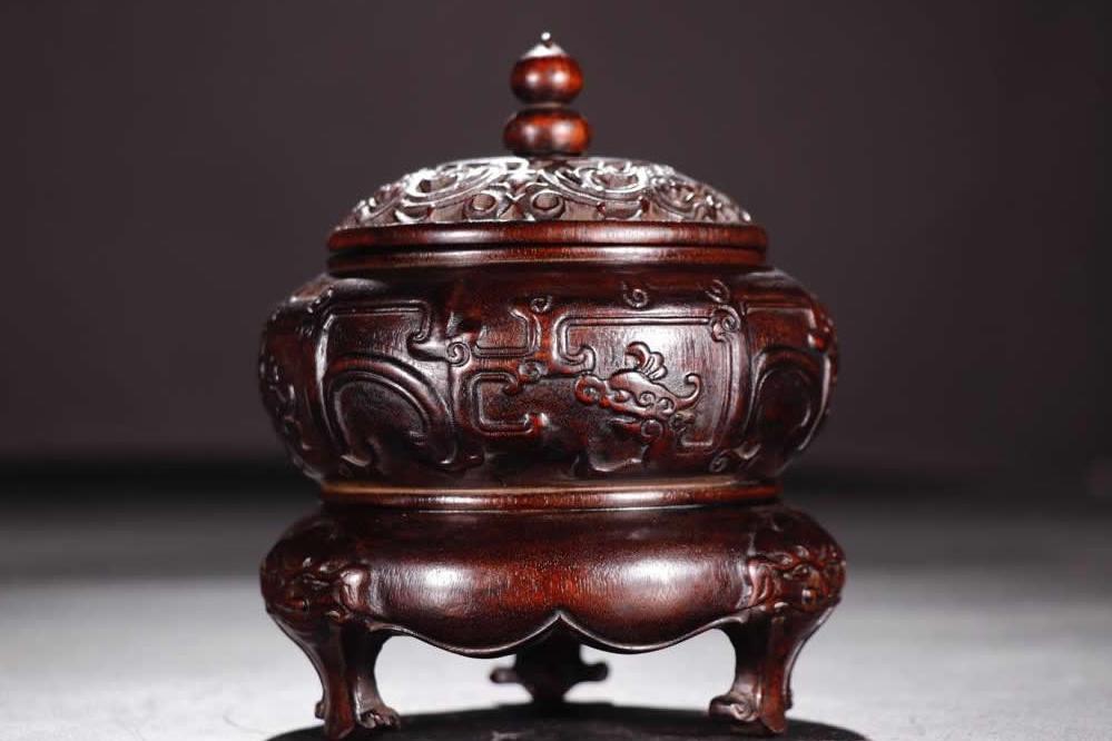 中国古美術 唐物 熏香炉 清 紫檀木彫り 三足熏香炉 熏香具 置物 擺件 案頭 旧蔵