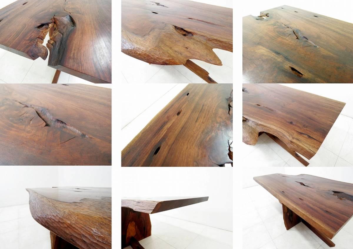 ウォールナット 無垢材 一枚板 ダイニングテーブル 耳付き 状態良好 銘木 逸品 希少 検桜製作所ジョージナカシマ家具蔵_画像10