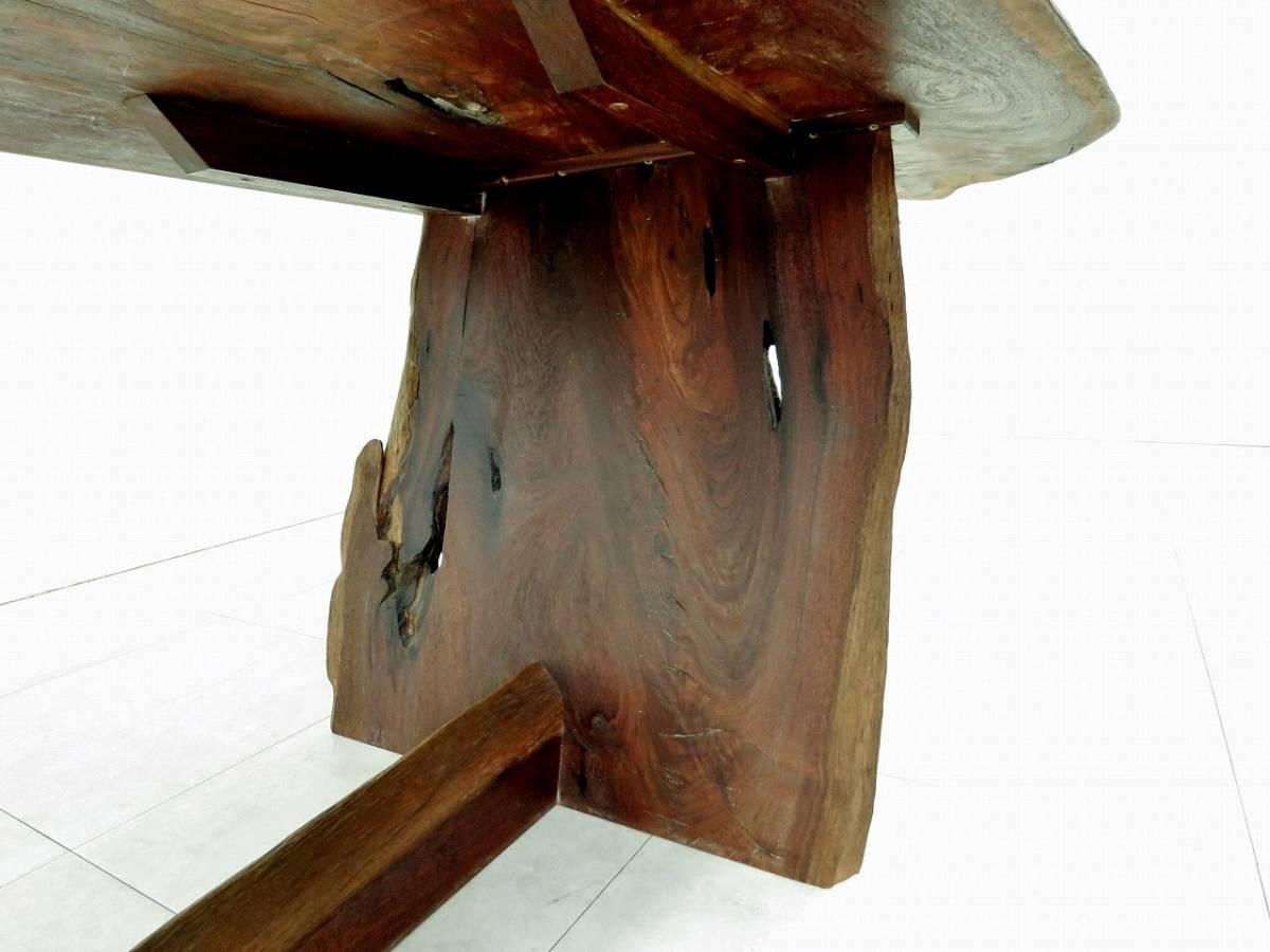 ウォールナット 無垢材 一枚板 ダイニングテーブル 耳付き 状態良好 銘木 逸品 希少 検桜製作所ジョージナカシマ家具蔵_画像9