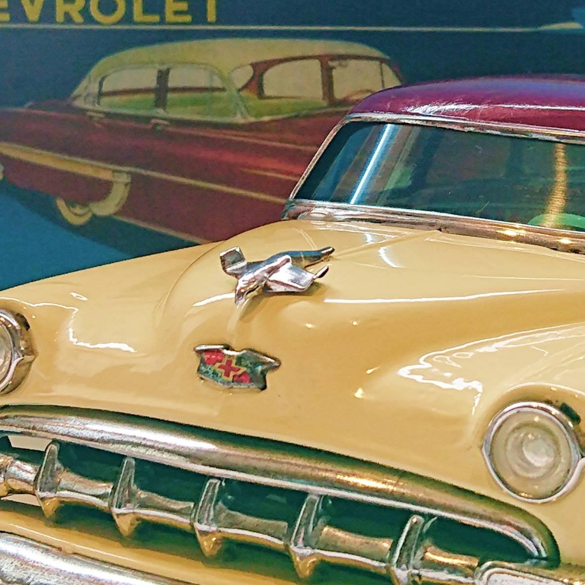 超希少ブリキ! ラインマー シボレー 世界に1つのツートンカラー Linemar Chevrolet マルサン/コスゲ製 リペイント 自動車 ビンテージ _画像2