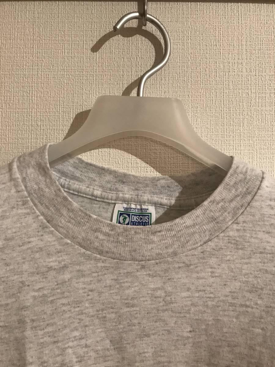 希少 デッド購入90s USA製DISCUSディスカス TEE 無地 グレー Tシャツ 単タグ ランタグ 染み込み タタキ トリコ 目無し ビンテージ_画像4