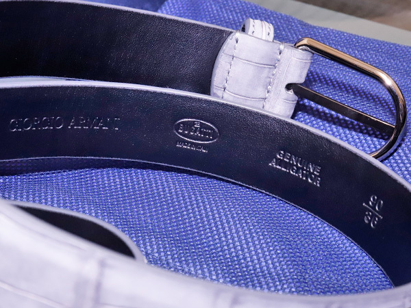新品タグ付 ジョルジオアルマーニ for ブガッティ 最高級クロコダイルレザー サンチュール メンズ90 紳士用 クロコベルト 箱付 本物 正規_画像5