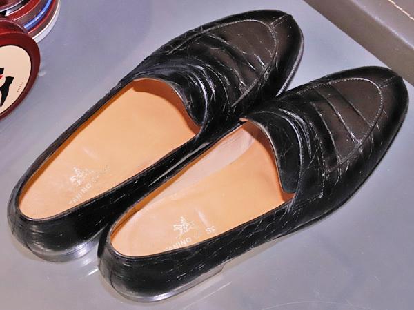 美品 タニノクリスチー 最高級リアルクロコダイルレザーローファー メンズ7 黒 ブラック 紳士革靴 クロコシューズ TANINO CRISCI 本物 正規_画像6