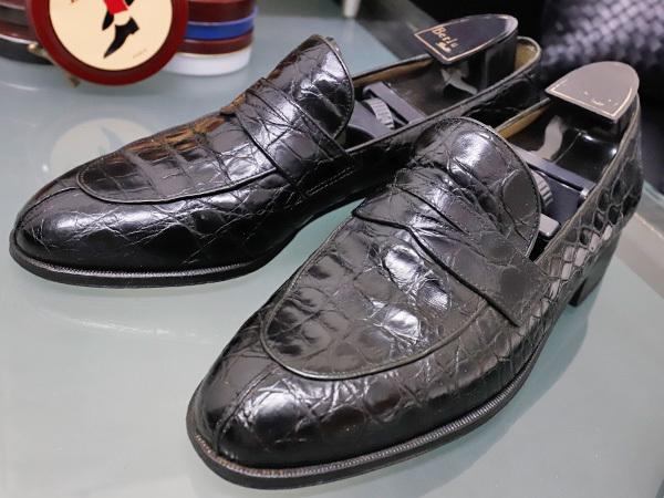 美品 タニノクリスチー 最高級リアルクロコダイルレザーローファー メンズ7 黒 ブラック 紳士革靴 クロコシューズ TANINO CRISCI 本物 正規_画像1