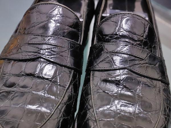 美品 タニノクリスチー 最高級リアルクロコダイルレザーローファー メンズ7 黒 ブラック 紳士革靴 クロコシューズ TANINO CRISCI 本物 正規_画像3