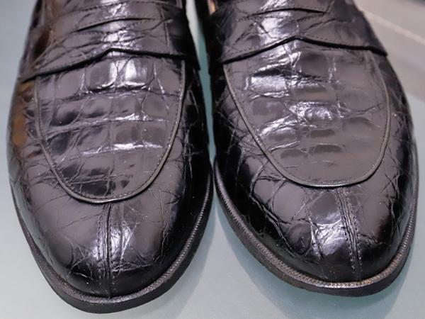 美品 タニノクリスチー 最高級リアルクロコダイルレザーローファー メンズ7 黒 ブラック 紳士革靴 クロコシューズ TANINO CRISCI 本物 正規_画像4