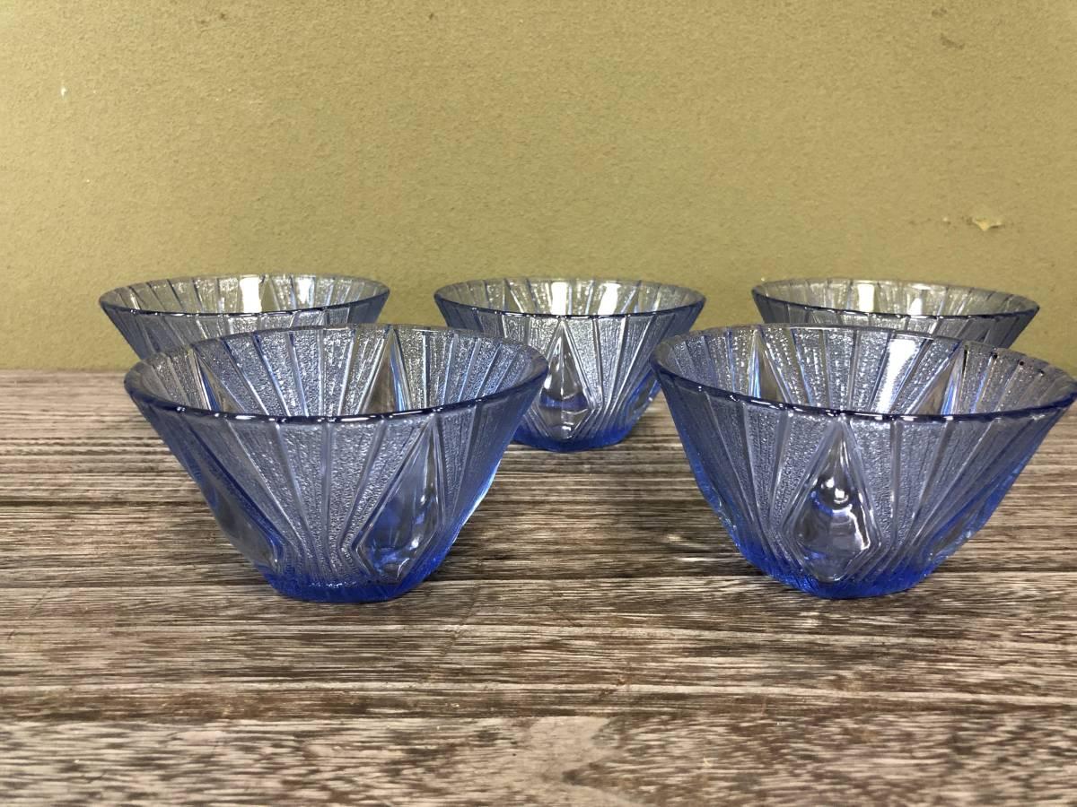 昭和レトロ プレスガラス かき氷 ガラス鉢 ブルー 五客_画像1
