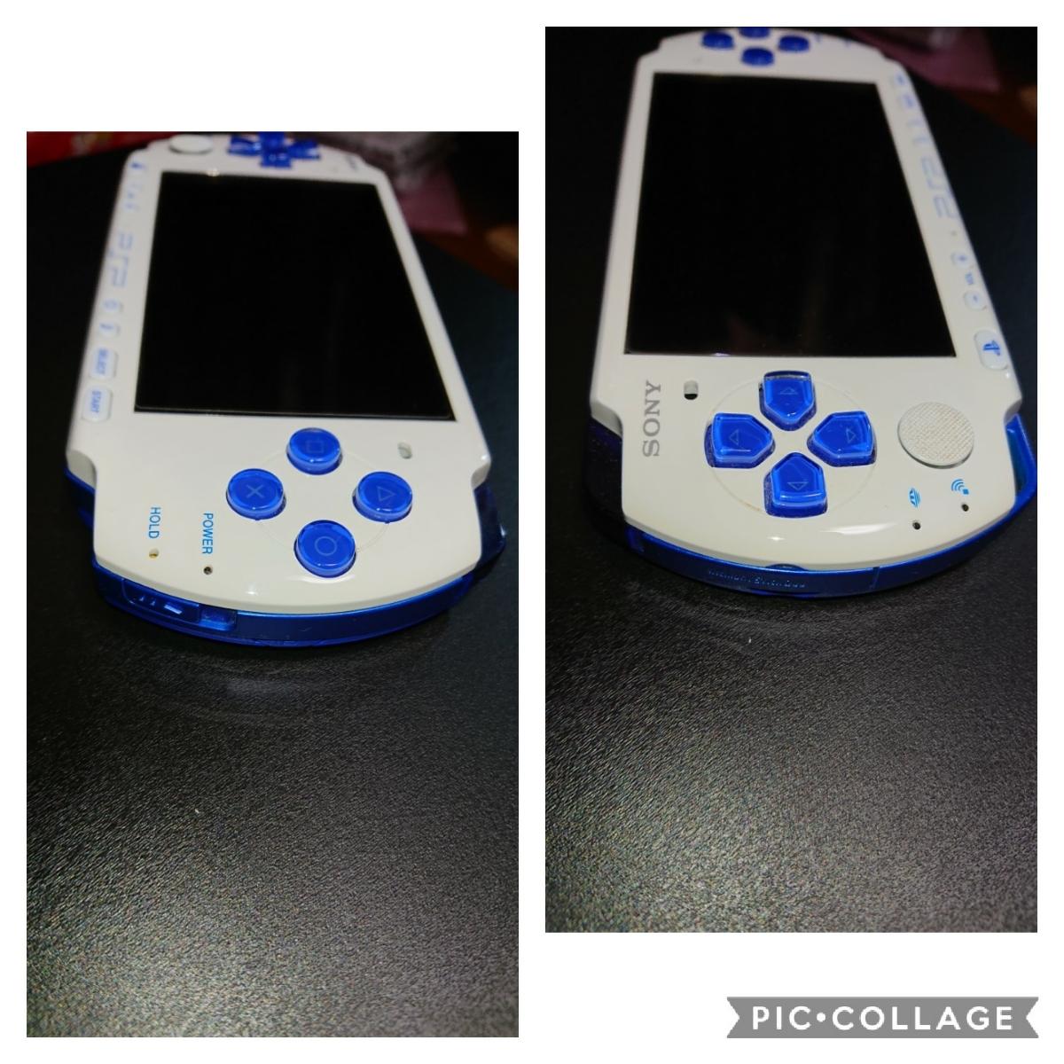 1円~PSP-3000 ホワイトブルー プレイステーションポータブル本体一式と、メモリースティック、ポーチ、オマケソフト付き。_画像4