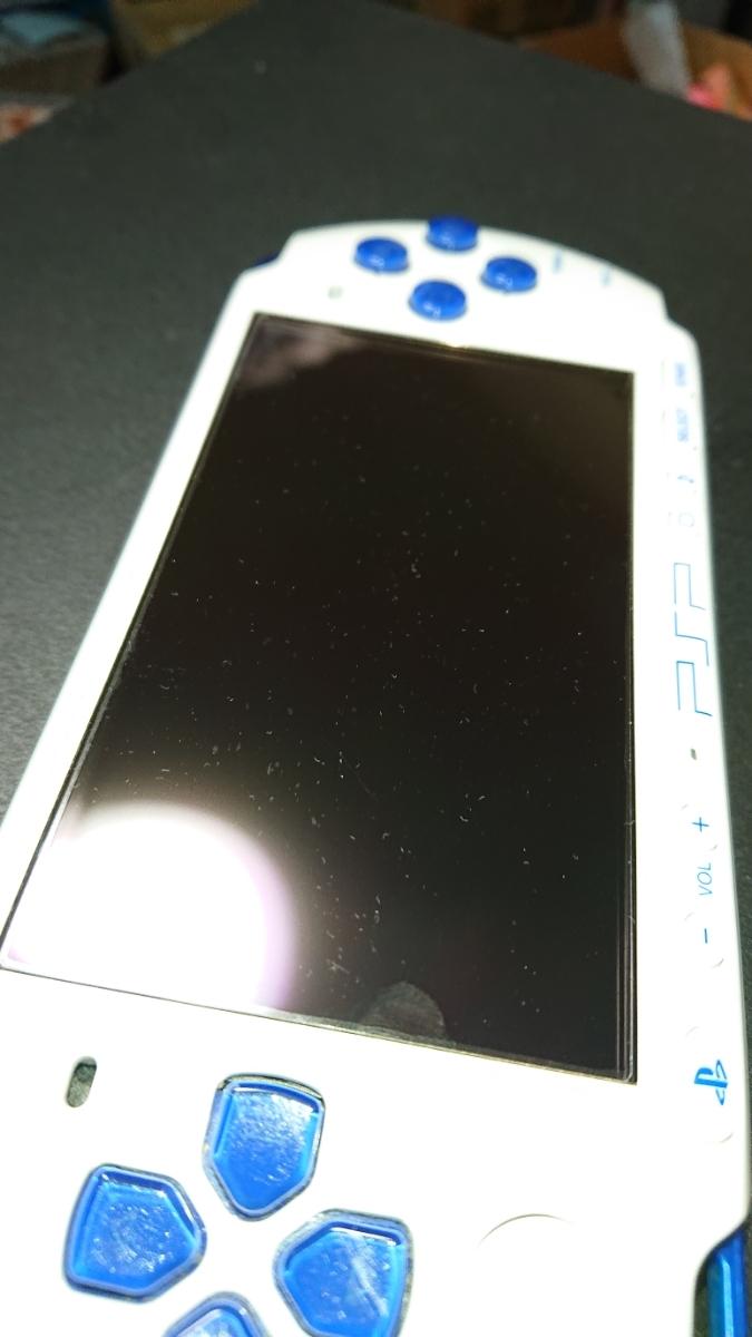 1円~PSP-3000 ホワイトブルー プレイステーションポータブル本体一式と、メモリースティック、ポーチ、オマケソフト付き。_画像7