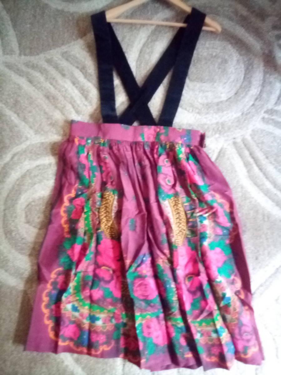 新品同様 2019SS 定価62640円 コムデギャルソンガール 花柄スカーフデザイン ジャンパースカート COMME DES GARCONS girl