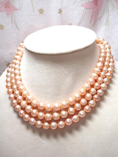 【日本製】sv608p贅沢な大粒♪天然無核淡水真珠/超ロングサーモンピンクパールネックレス♪_画像1