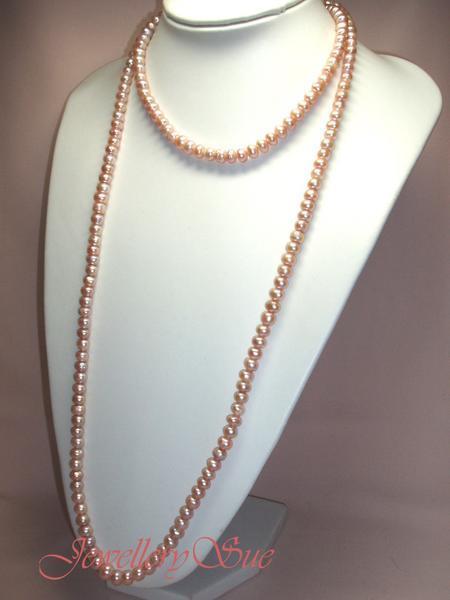 【日本製】sv608p贅沢な大粒♪天然無核淡水真珠/超ロングサーモンピンクパールネックレス♪_画像2