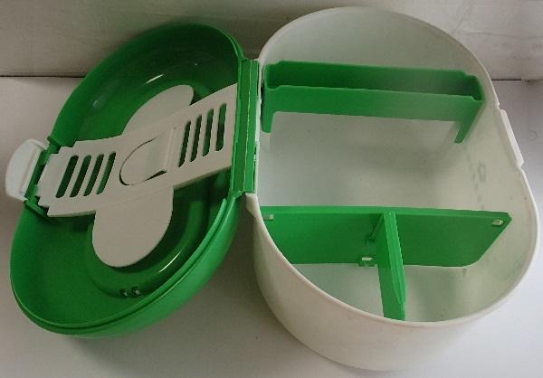 810/救急箱 First aid kit box ケース/収納上手/細型トレー 仕切り板 ハンドル付 内収納/軽量プラスチック製/山一證券健康保険組合_画像3