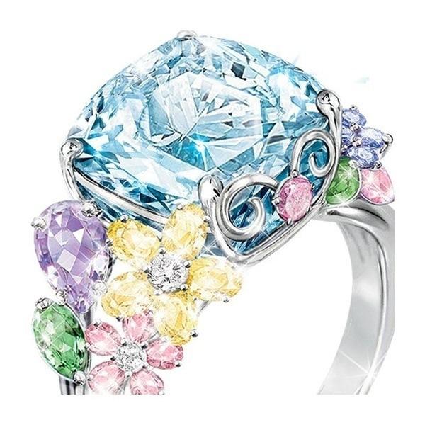 最高級の逸品 豪華 希少品 極大粒 必見 新着 新品未使用 限定入荷 多彩なCZダイヤモンドリング フラワー 約6.37ct プラチナ仕上 15号_画像2