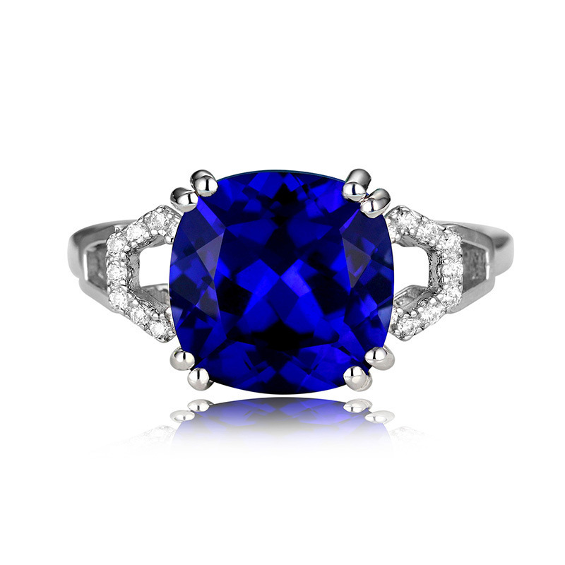 極上の逸品 絢爛 豪華 厳選 極大粒 約3.63ct CZサファイアブルーダイヤモンドリング 指輪 シルバー925 プラチナ仕上 11号_画像1