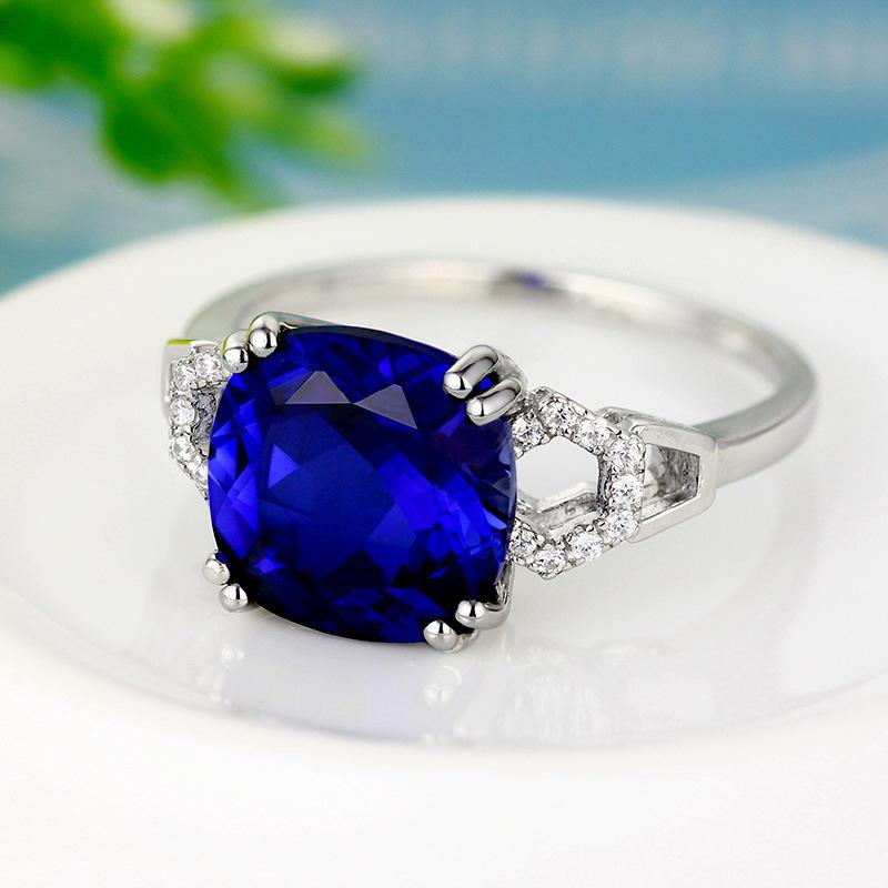 極上の逸品 絢爛 豪華 厳選 極大粒 約3.63ct CZサファイアブルーダイヤモンドリング 指輪 シルバー925 プラチナ仕上 11号_画像2