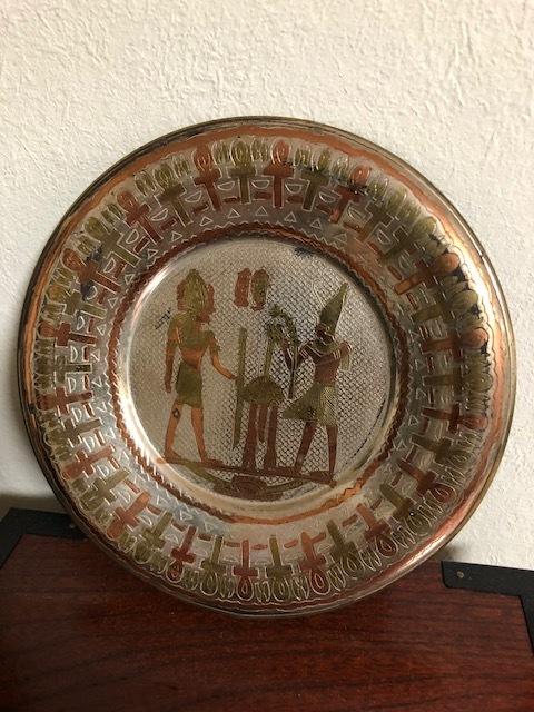 エジプトの壁畫風 真鍮皿 直徑14cm