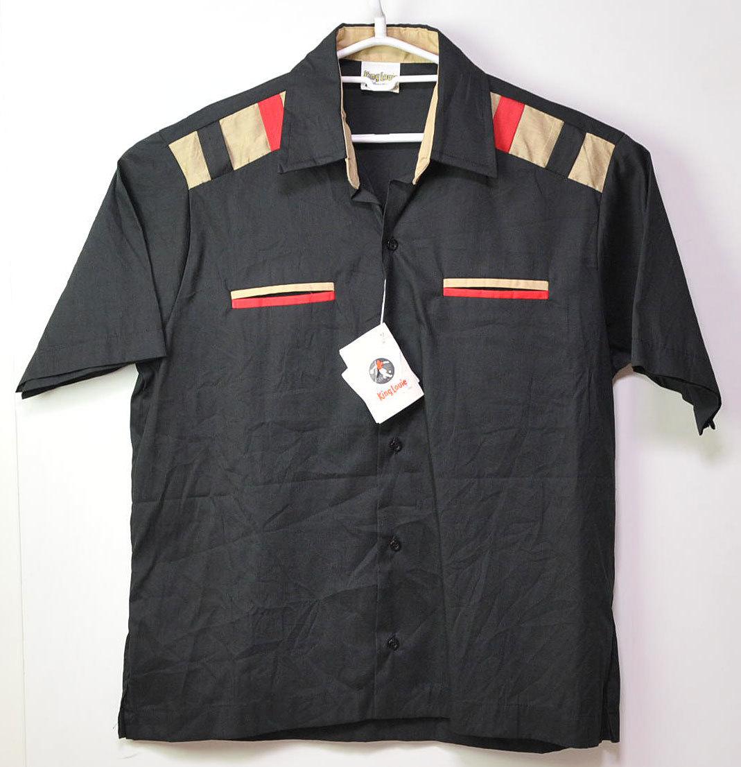 古着●キングルイ ボウリングシャツ ブラック コンビ M ビンテージタグ付き xwp_画像2