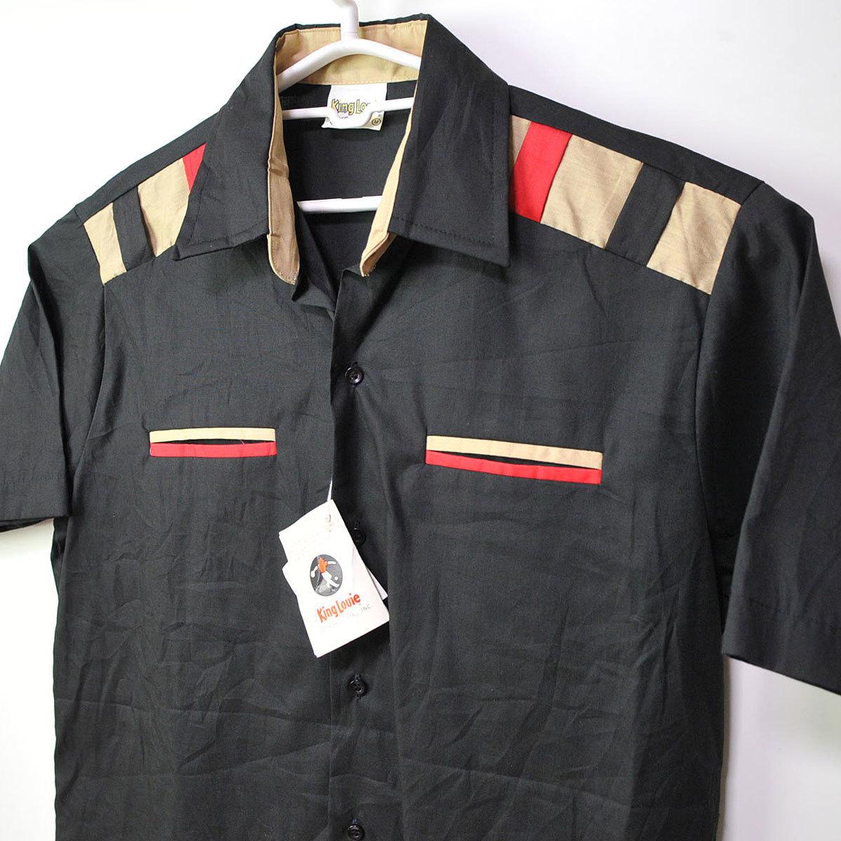 古着●キングルイ ボウリングシャツ ブラック コンビ M ビンテージタグ付き xwp_画像1