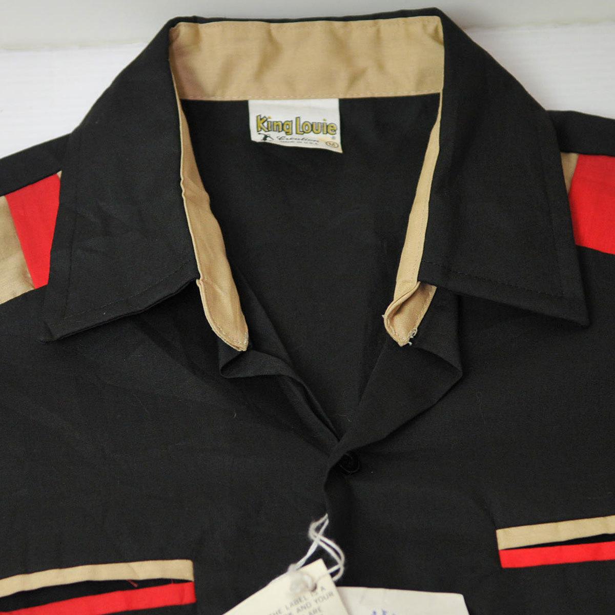 古着●キングルイ ボウリングシャツ ブラック コンビ M ビンテージタグ付き xwp_画像4