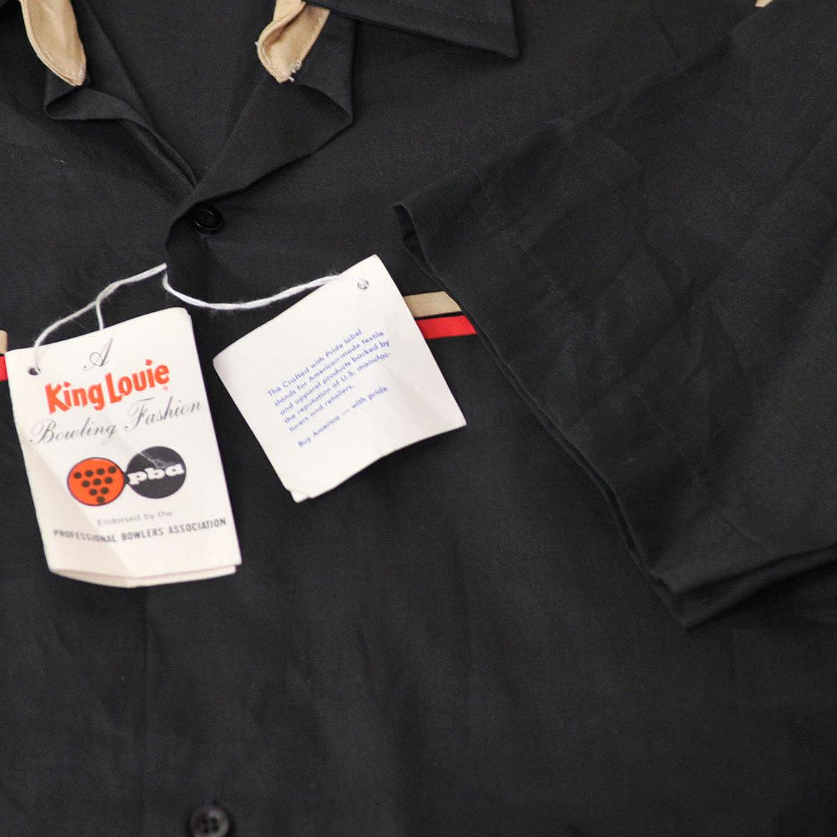 古着●キングルイ ボウリングシャツ ブラック コンビ M ビンテージタグ付き xwp_画像6