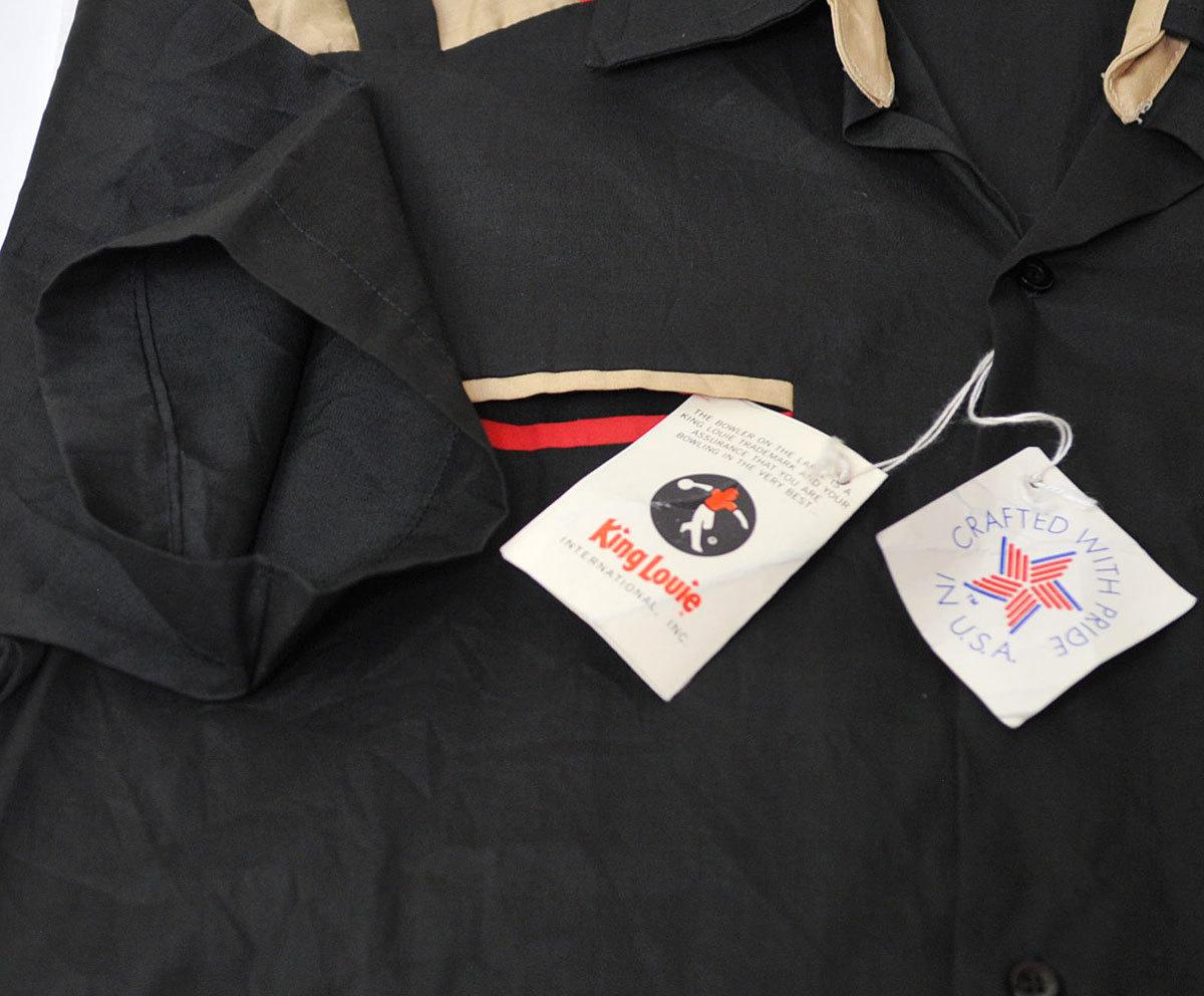古着●キングルイ ボウリングシャツ ブラック コンビ M ビンテージタグ付き xwp_画像5