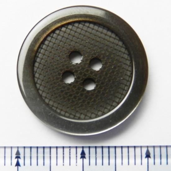 太縁にグラデーションが入った格子柄模様の茶色プラスチックボタン/20mm/4穴/スーツやジャケットに最適-VR17CL1-20-BR-530_画像2