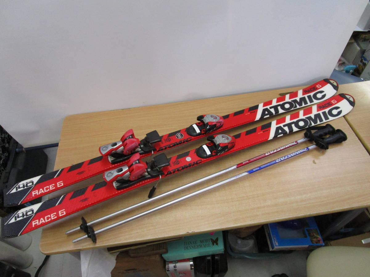 F059★ATOMIC アトミック RACE6 スキー 板 140cm ビンディング付 DYNAZTAR ストック 約104cm★中古品