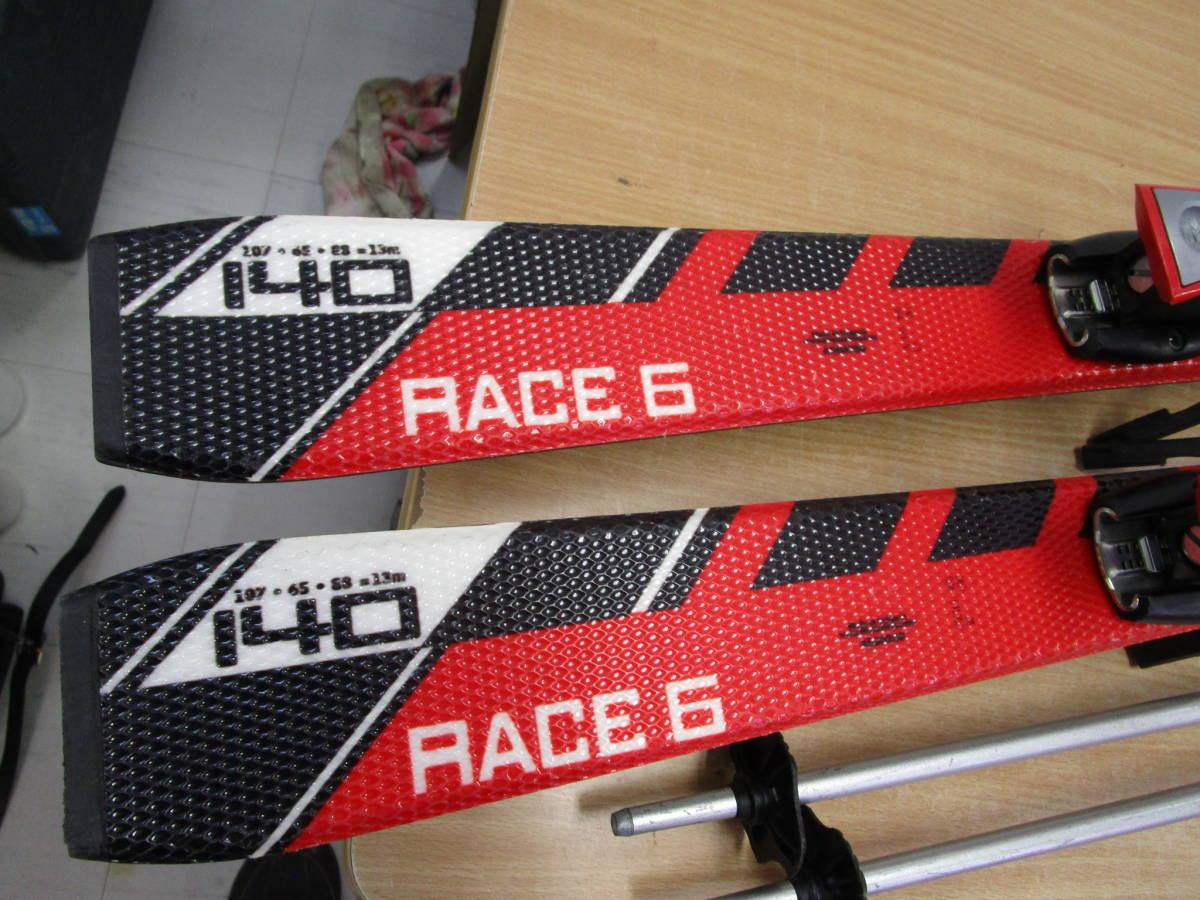 F059★ATOMIC アトミック RACE6 スキー 板 140cm ビンディング付 DYNAZTAR ストック 約104cm★中古品_画像2