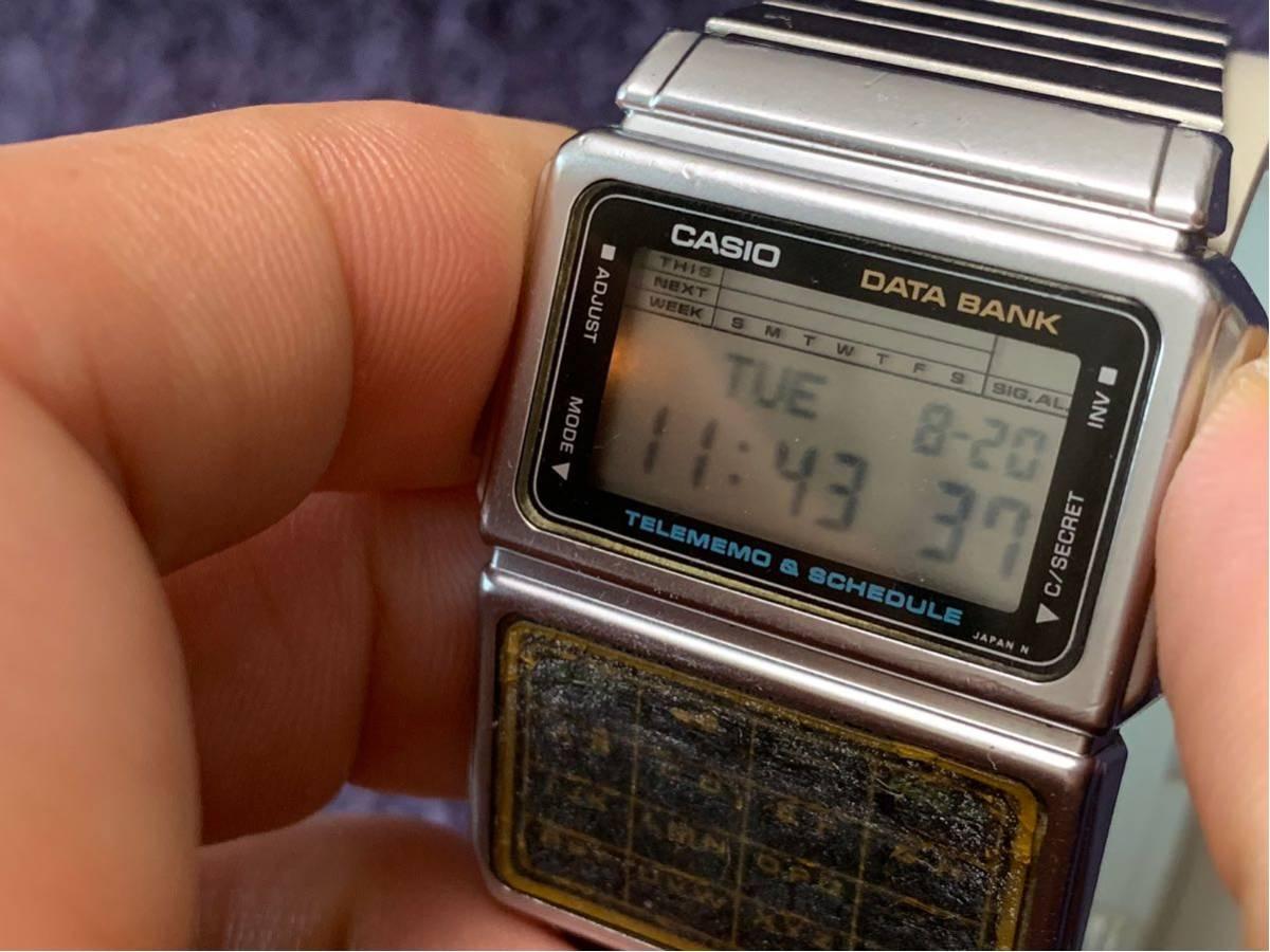 ★ CASIO カシオ DBC-600 563 DATABANK データバンク 腕時計 稼動品 デジタル レア シルバー 黒 白 ステンレス ビンテージ 美品 希少 ★_画像2